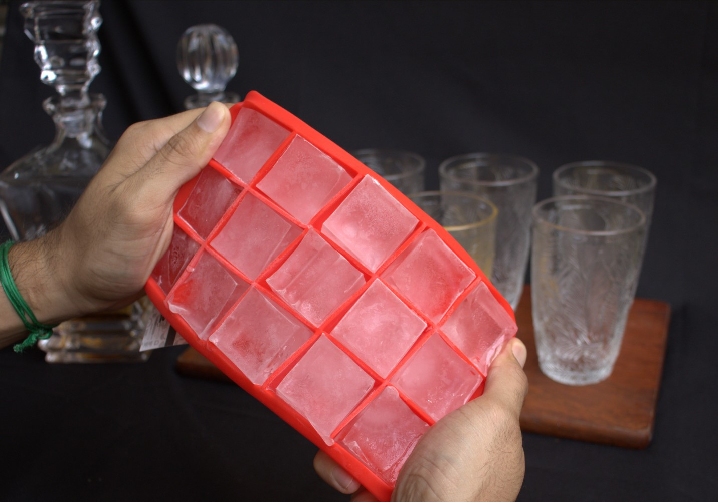 Forma de gelo papinha de silicone 15 cubos livre de bpa Vermelho