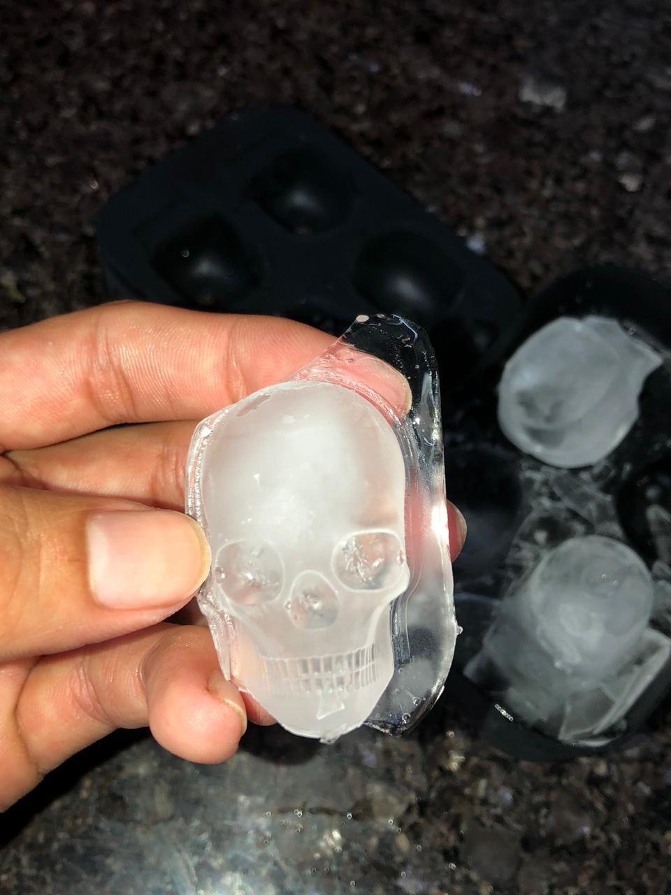 forma de gelo silicone caveira esfera preta com tampa