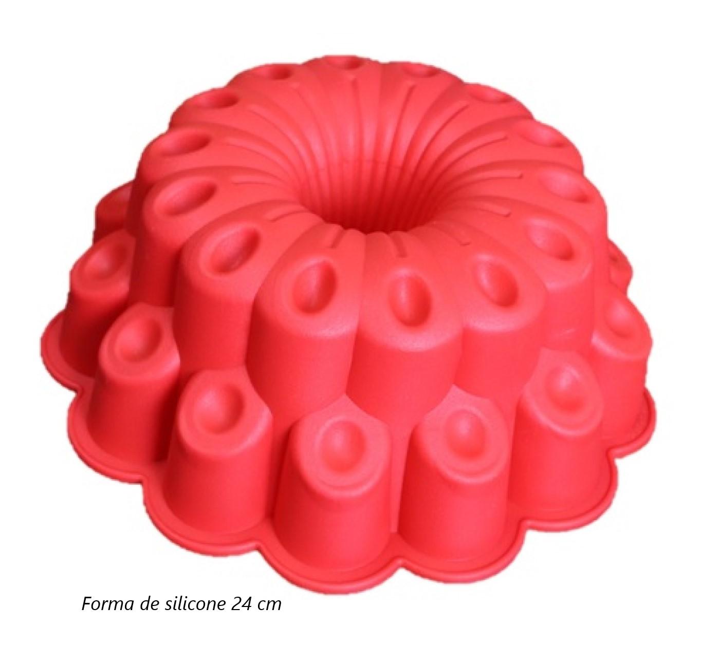 Forma de silicone bolo pudim assadeira antiaderente 24 cm grande