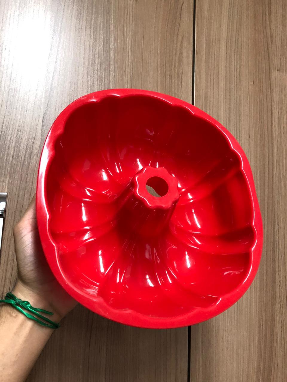 Forma de silicone bolo pudim assadeira antiaderente 26 cm grande