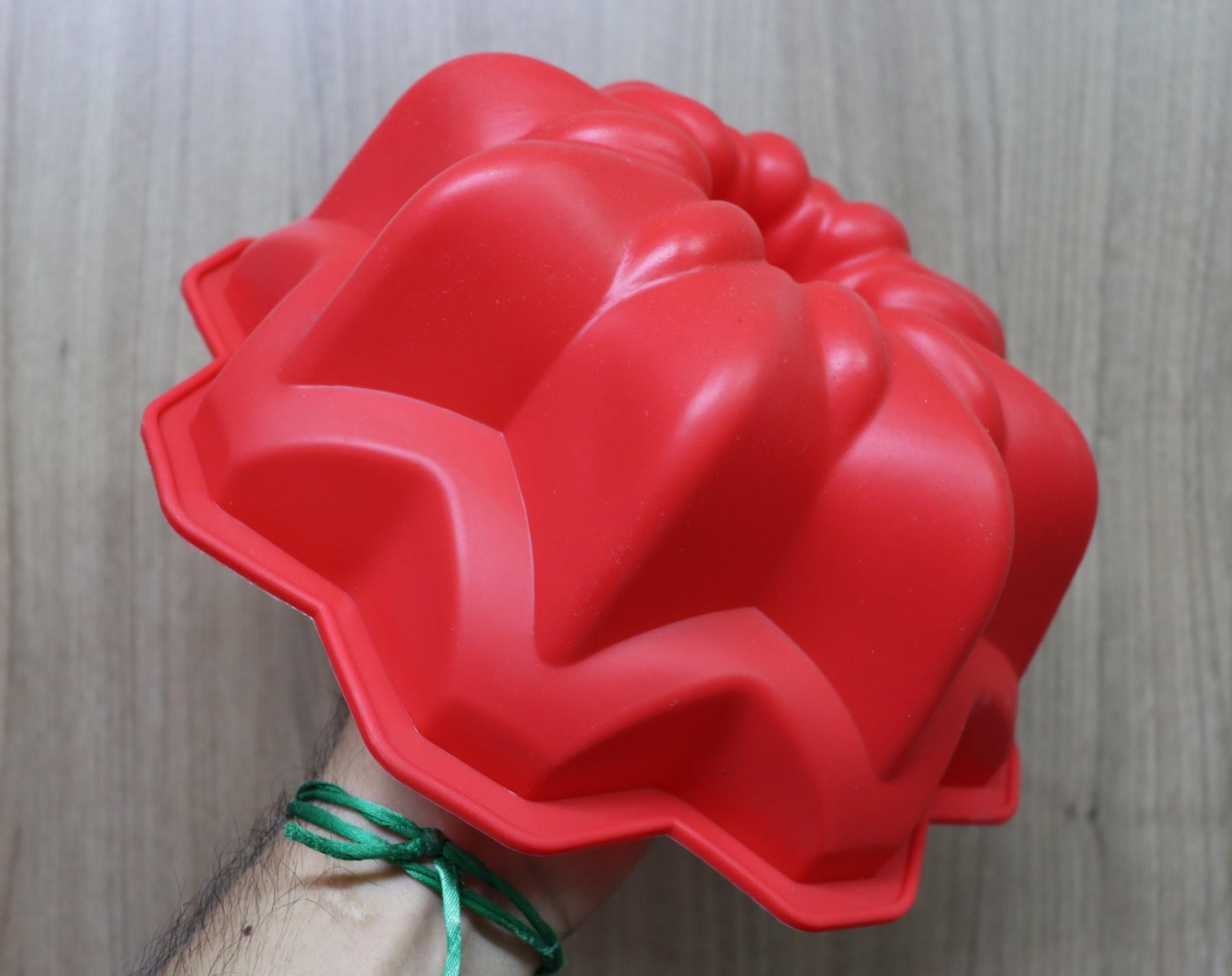 Forma de silicone bolo pudim assadeira antiaderente flor 24 cm grande