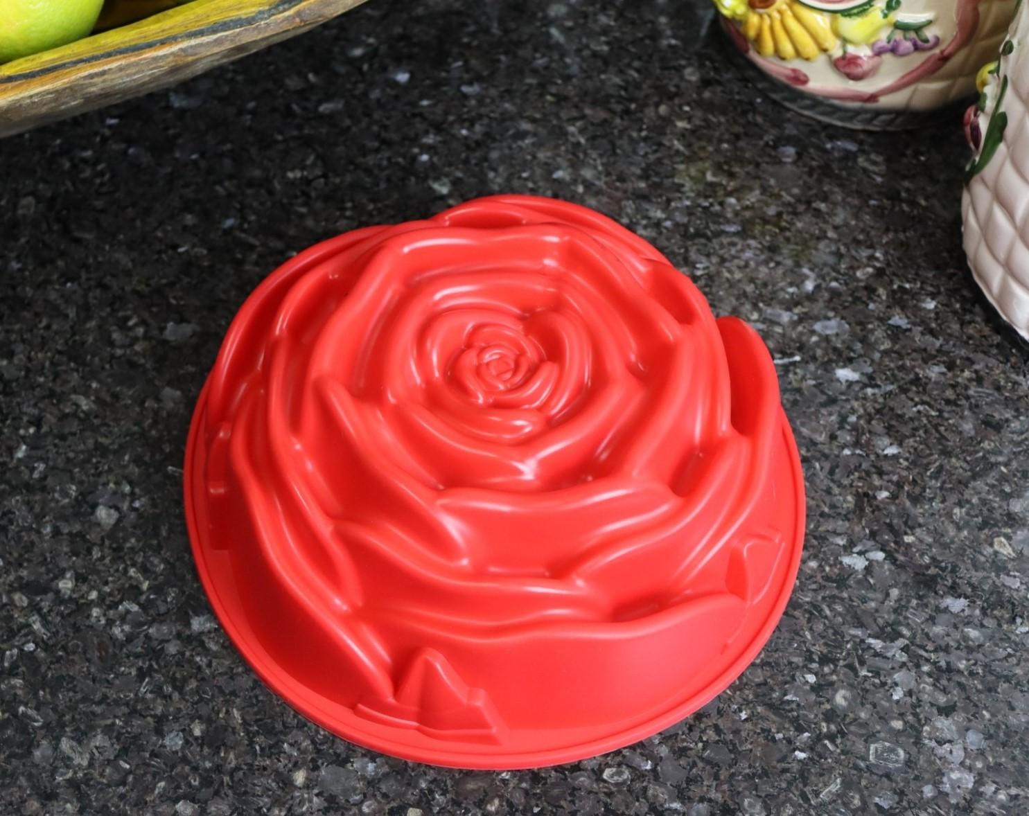 Forma de silicone bolo pudim assadeira antiaderente rosa 24 cm grande