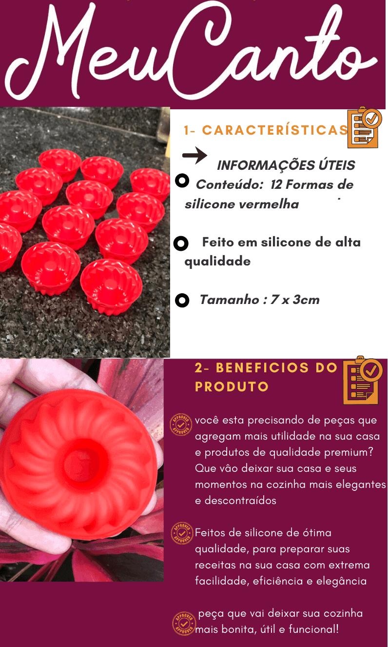 Forma de silicone cupcake antiaderente vermelha pequena 7x3,5cm