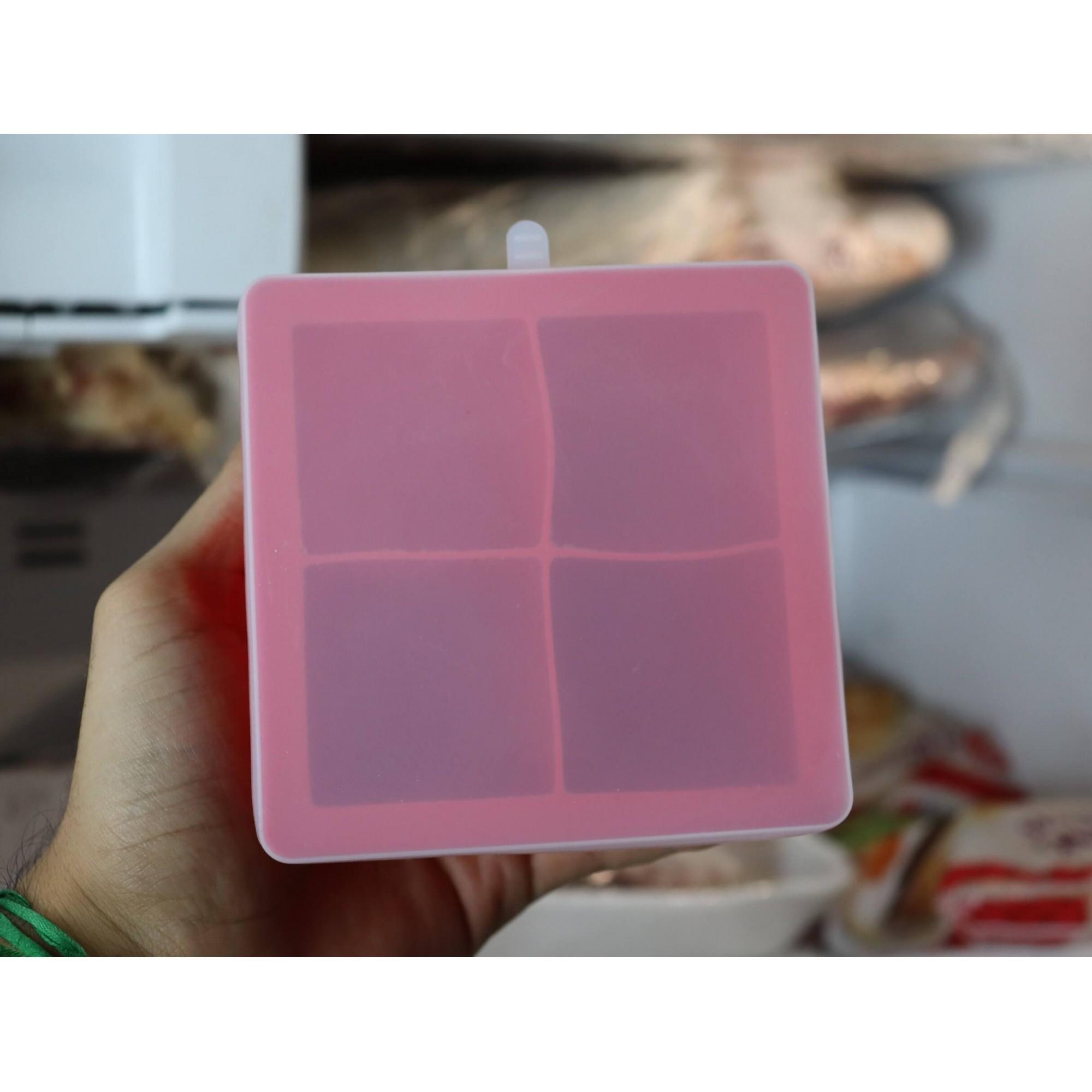 forma de silicone gelo com tampa papinha quadrada 4 cubos grandes sem bpa forminhas para gelo