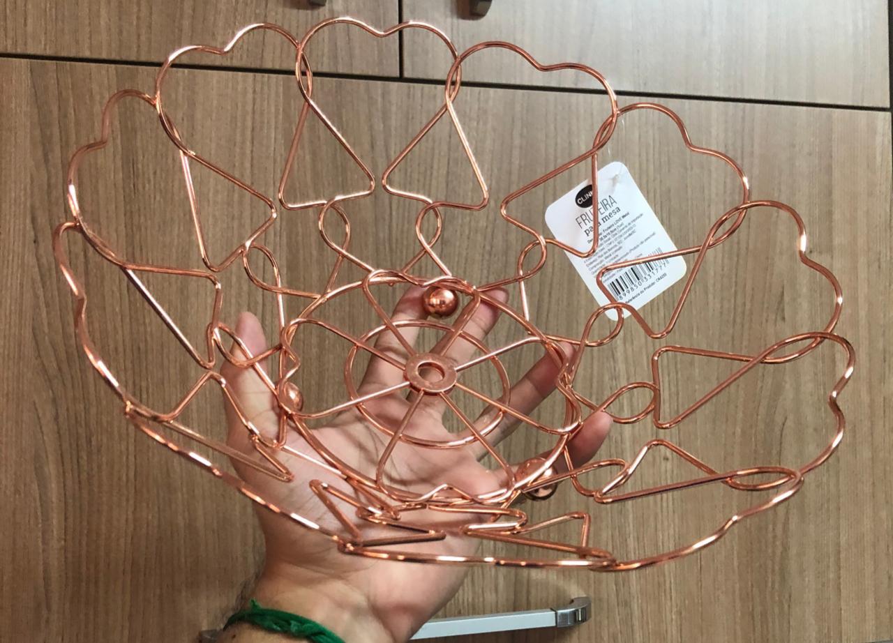 fruteira de mesa aramada redonda metal cromado decorativa rose inox