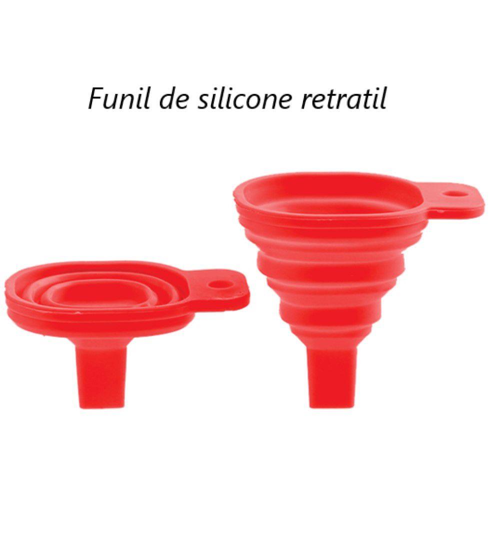 Funil retrátil de silicone dobravel cozinha vermelho