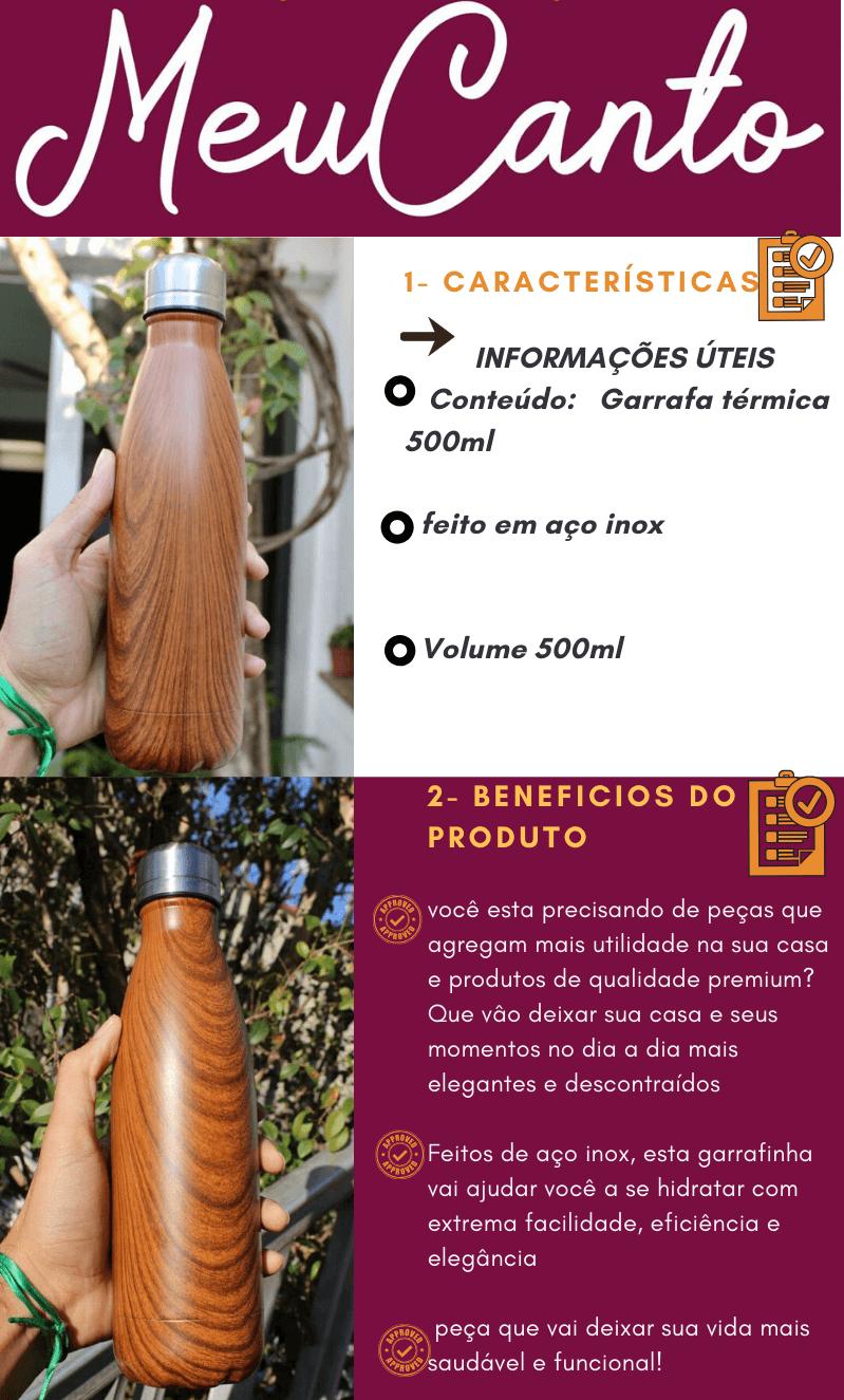 Garrafa Térmica Aço Inox 500mL  Água Gelada por mais tempo estampa madeira mogno