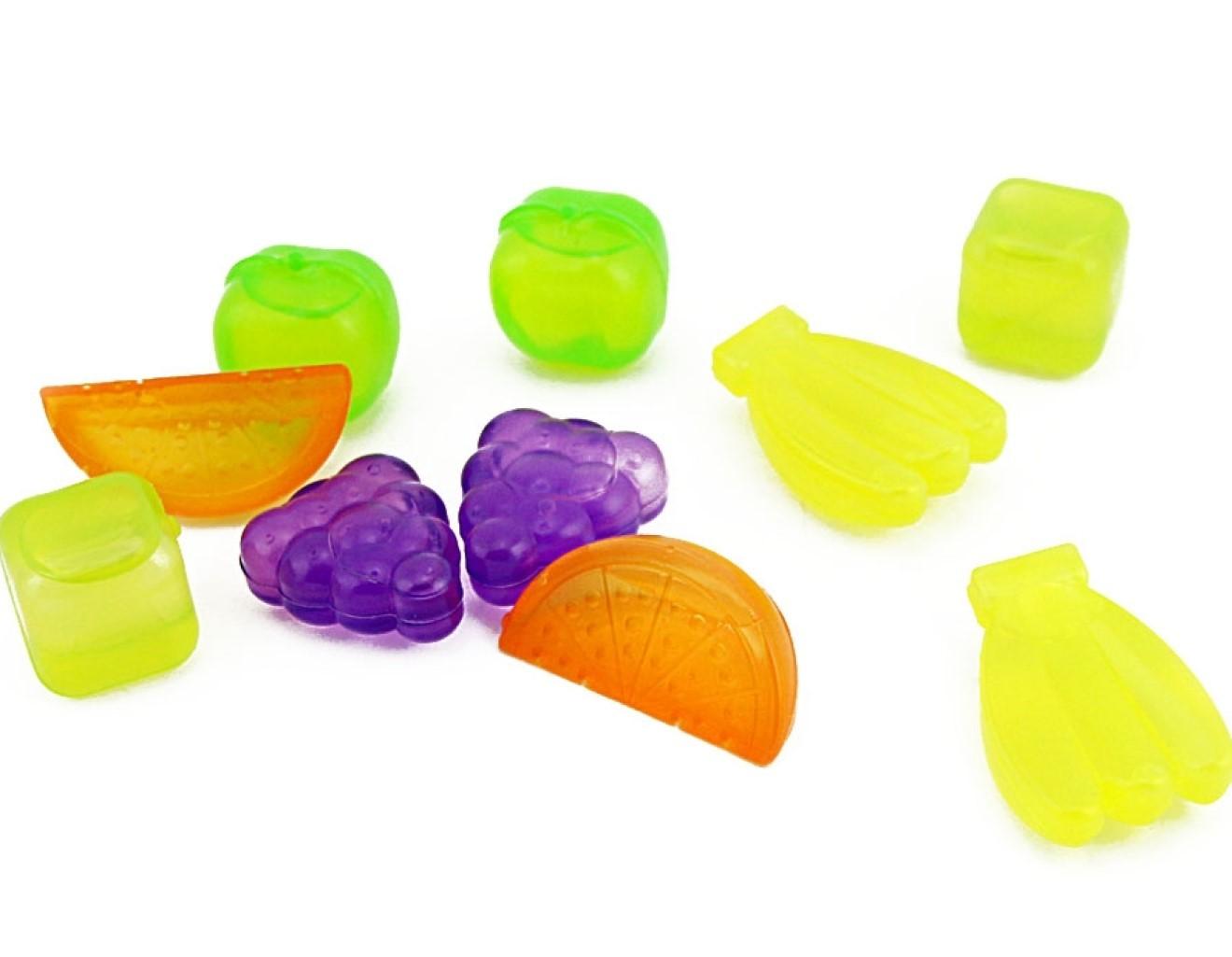 gelo artificial 10 cubos coloridos frutas reutilizaveis