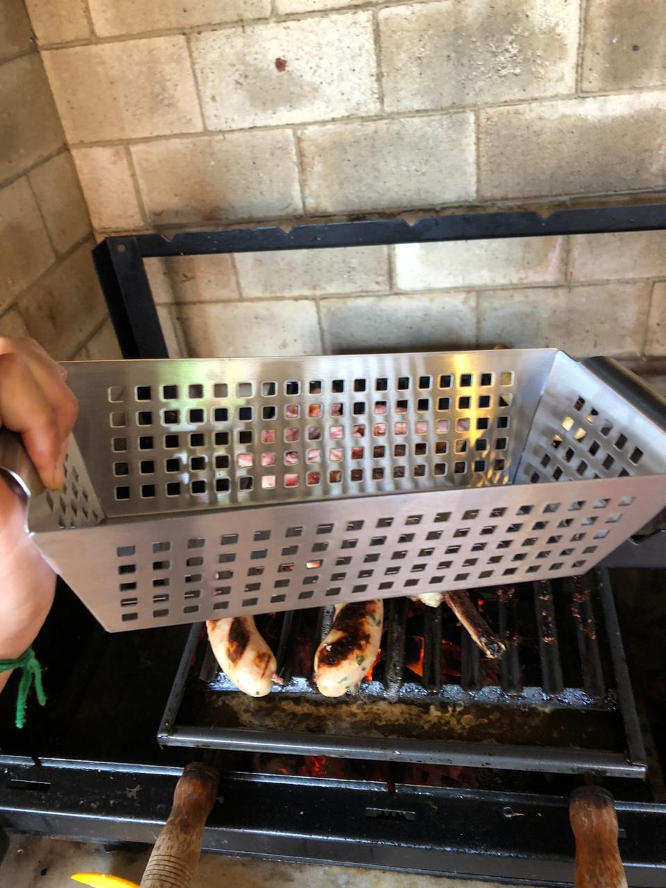 Grelha perfurada para churrasqueira vegetais e carne funda aço inoxidável