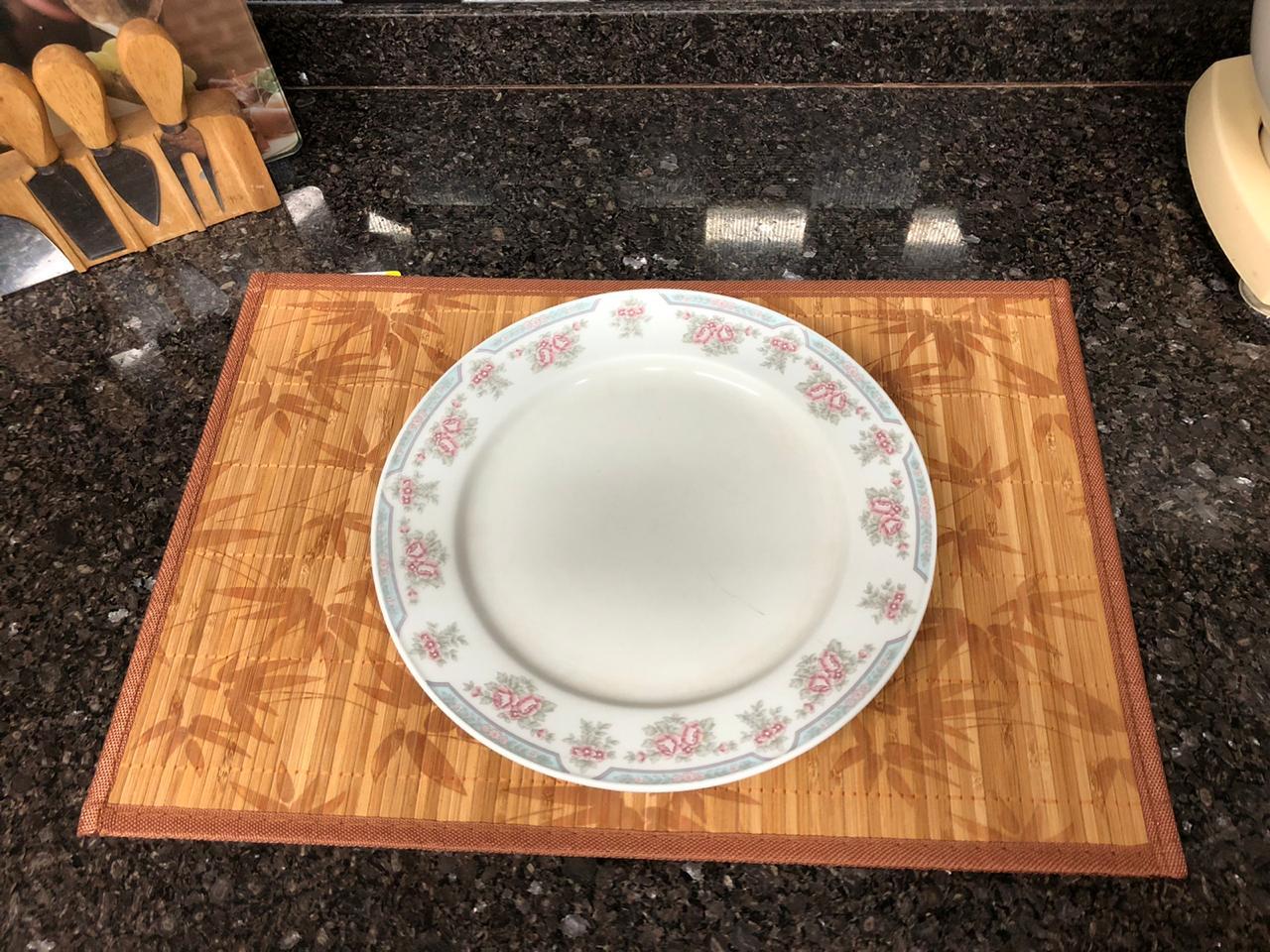 jogo americano cozinha de bambu 4 peças lugar americano amarelo limpa fácil