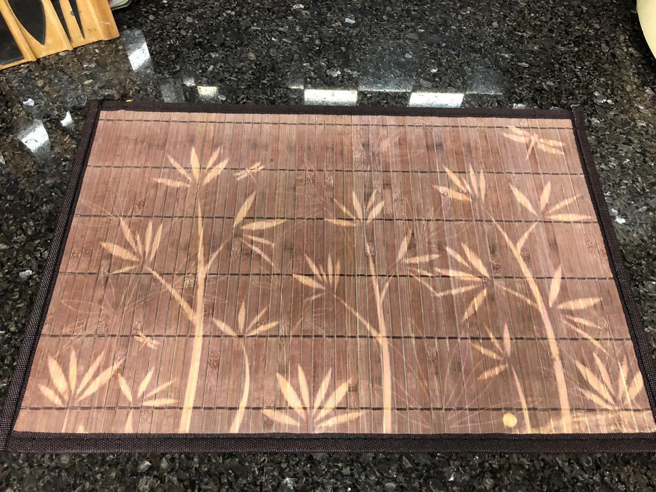 jogo americano cozinha de bambu 4 peças lugar americano marrom limpa fácil