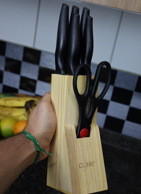 jogo de 5 facas e 1 tesoura em aço inox com suporte em madeira conjunto de facas profissional