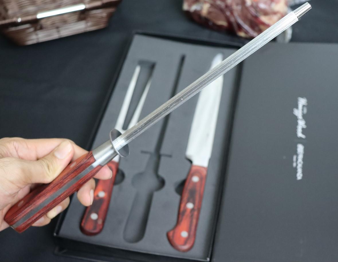 Jogo de churrasco 3peças faca chef chaira amolador e garfo picanheira