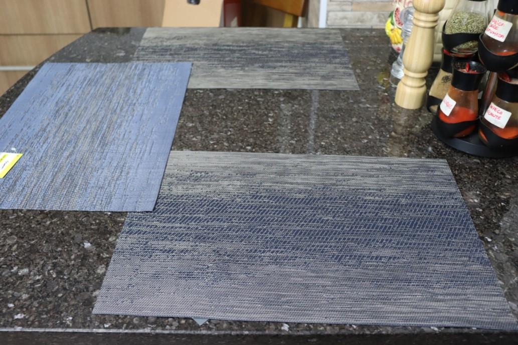 jogo lugar americano 6 peças retangular azul cozinha mesa limpa fácil
