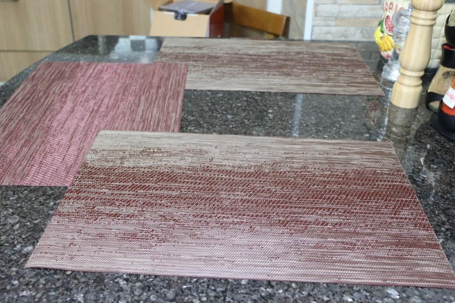 jogo lugar americano 6 peças retangular vermelho cozinha mesa limpa fácil