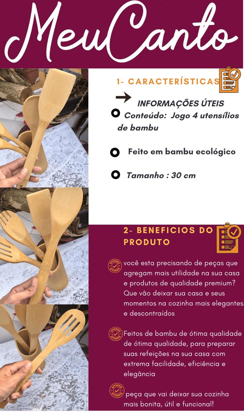 Jogo utensílios de bambu ecológico 4 peças MimoStyle