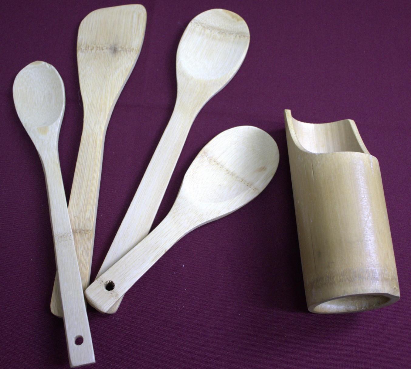 Jogo utensílios de bambu madeira ecológico 4 peças kit colher de pau