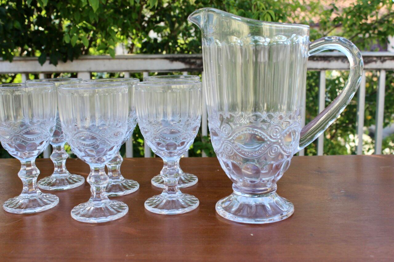 kit jarra + taças de vidro 6 unidades para suco / agua 1,2 litros e 240mL
