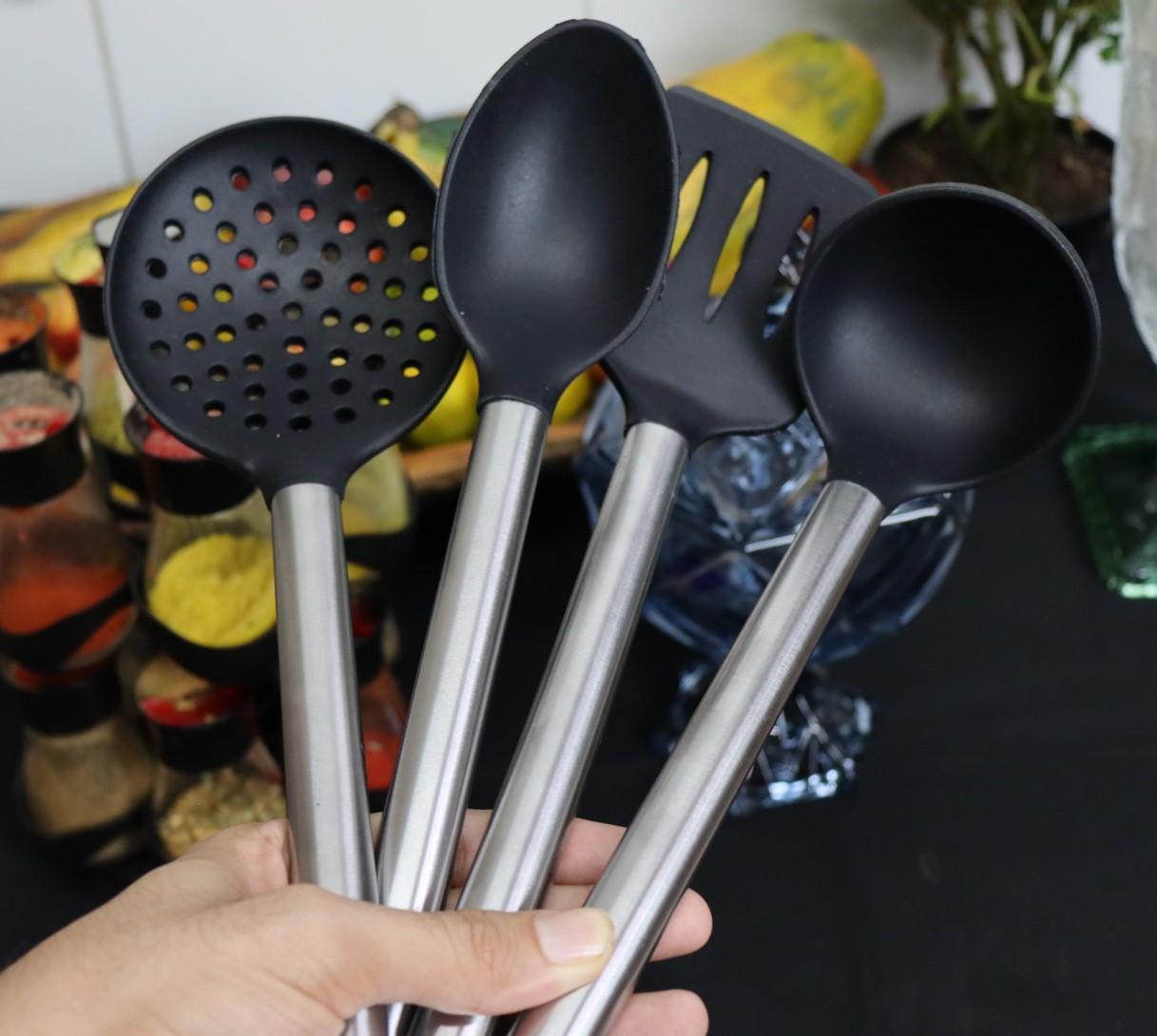 kit jogo Utensílios de cozinha silicone inox 4 peças colher concha espatula escumadeira livre de bpa