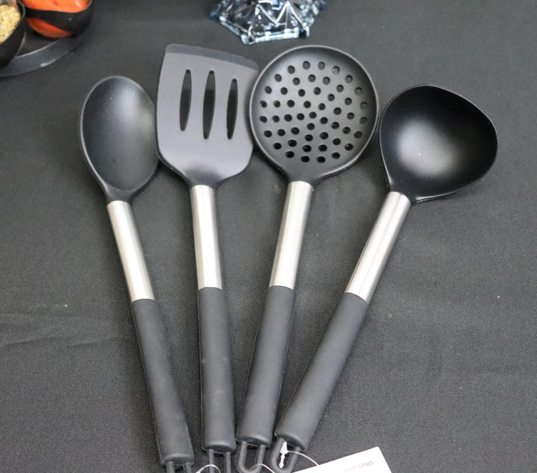 kit Utensílios de cozinha silicone inox 4 peças colher concha espatula escumadeira livre de bpa