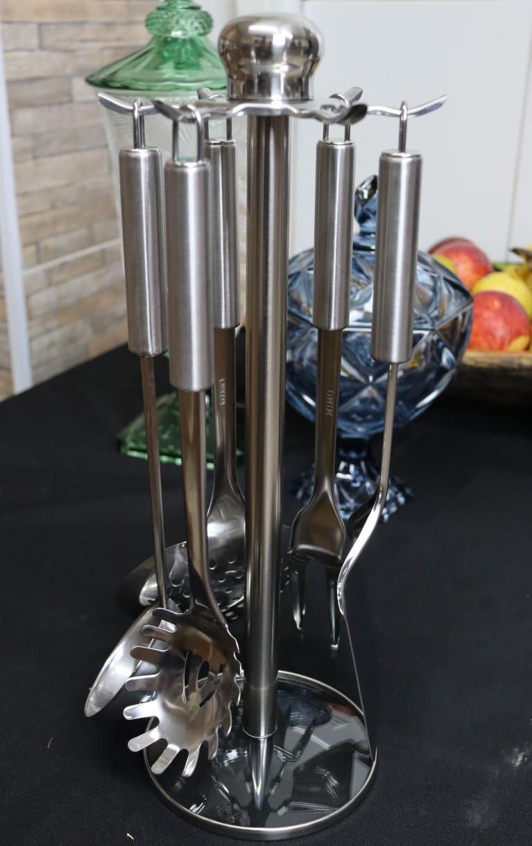 kit Utensílios inox cozinha com suporte 7 peças colher concha espatula chapeiro pegador garfo