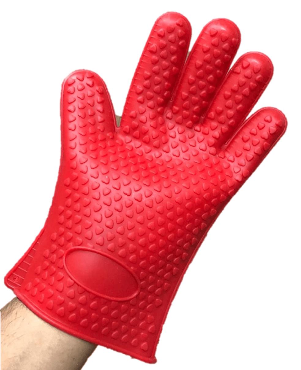 Luva de cozinha térmica silicone 5 dedos vermelha anti calor 230 graus