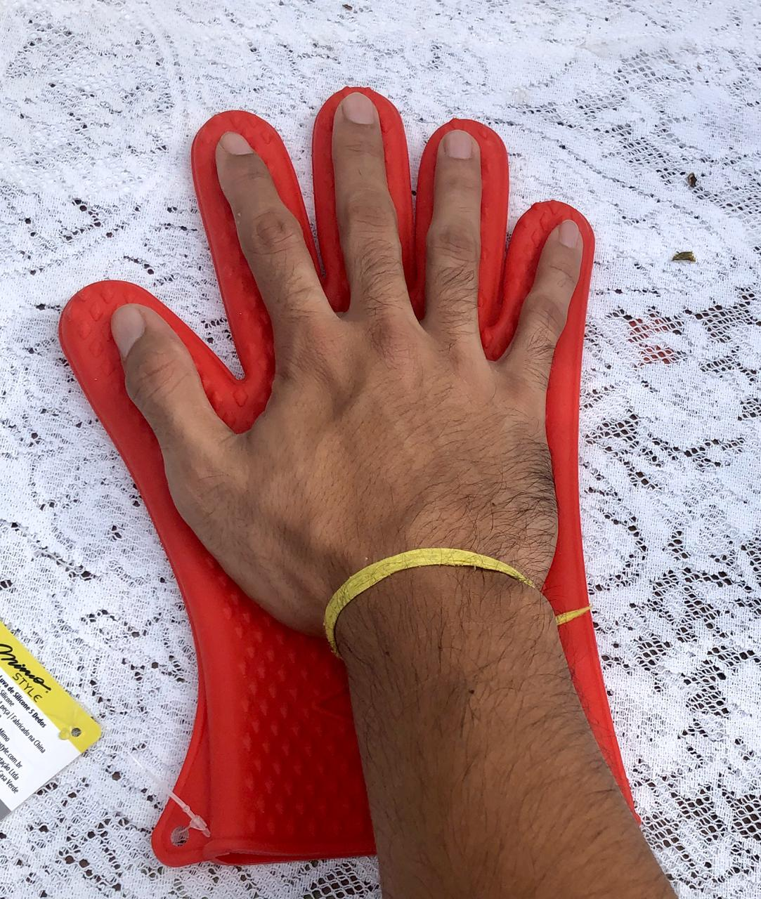 Luva térmica de cozinha silicone 5 dedos MimoStyle anti fogo 230 graus
