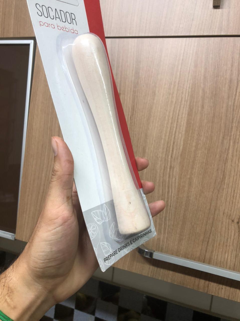 macerador socador de caipirinha madeira para drinks e cozinha pilão alho