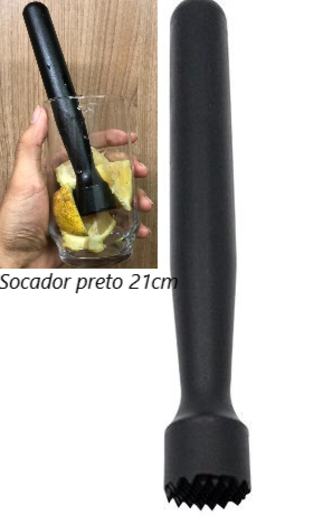 macerador socador de caipirinha preto para drinks e cozinha pilão alho onix
