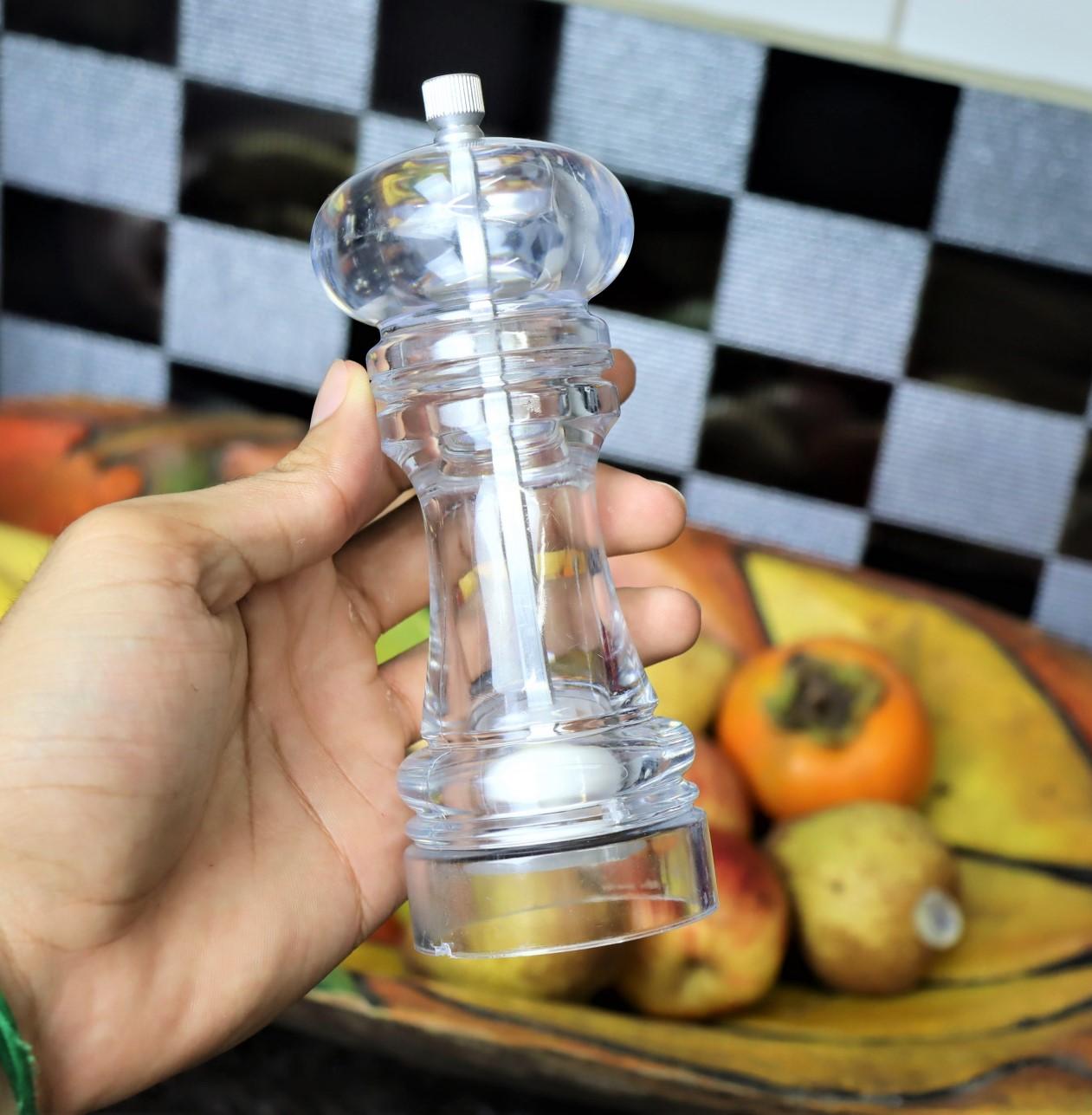 moedor de pimenta cozinha sal grosso acrilico 15cm triturador de sal especiarias MimoStyle