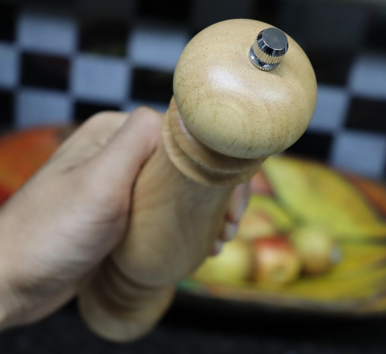 moedor de pimenta cozinha temperos sal grosso de madeira 20cm MimoStyle triturador de sal especiarias