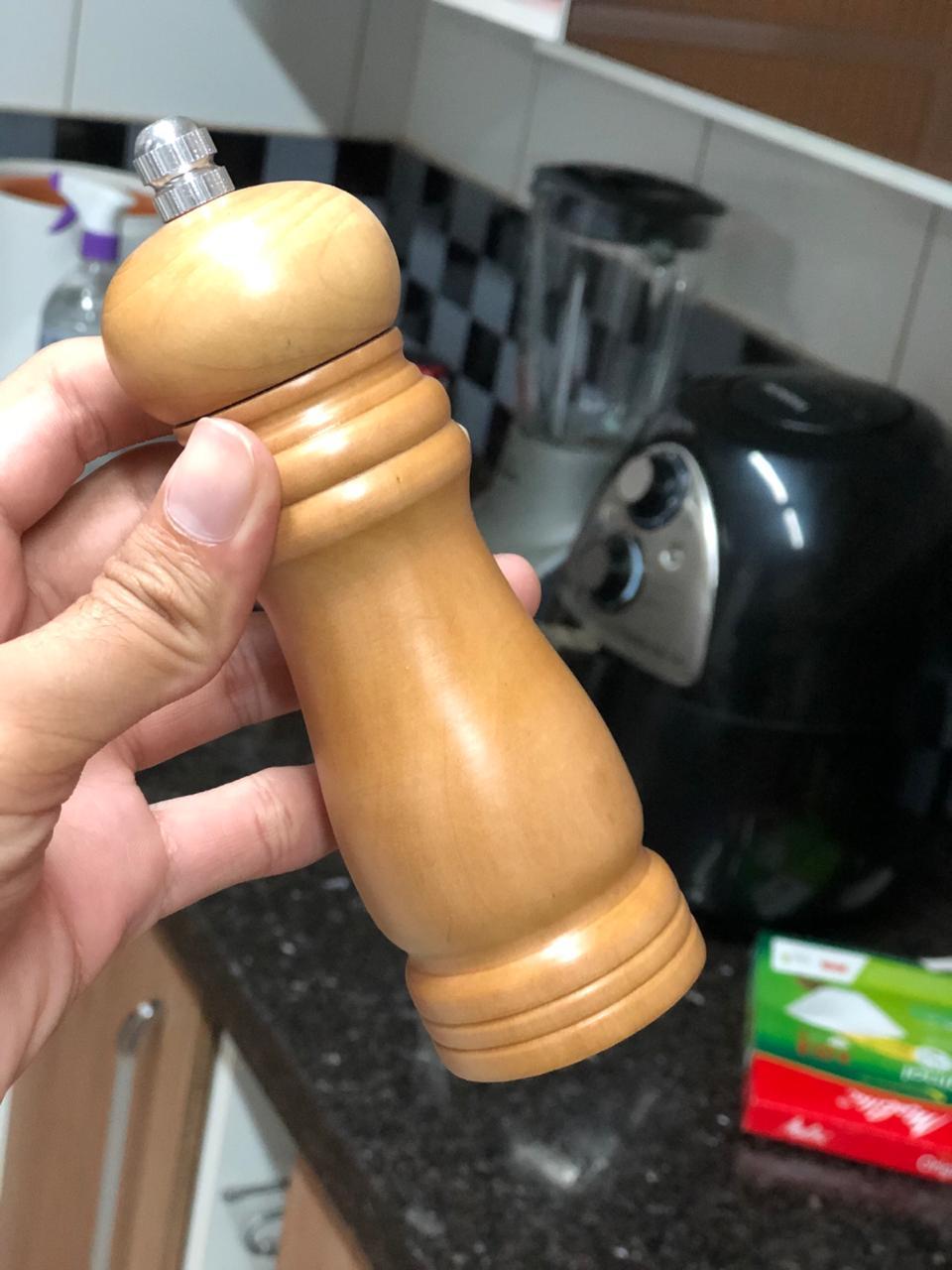 moedor de pimenta sal grosso de madeira 15cm triturador de sal especiarias