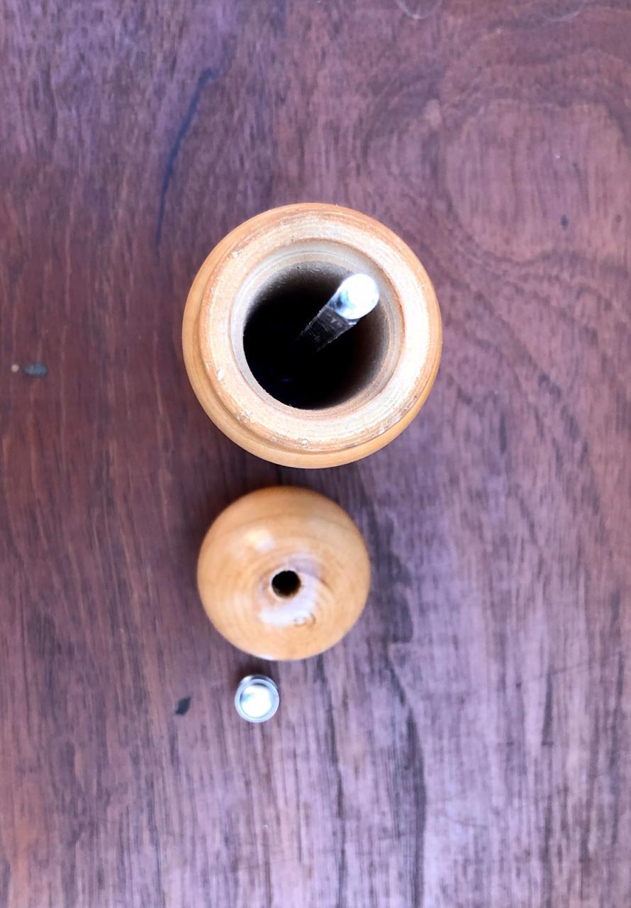 moedor de pimenta sal grosso de madeira 21cm triturador de sal especiarias