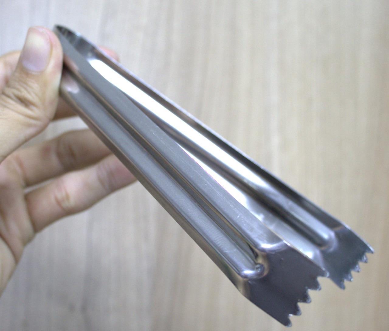 Pegador de gelo salada cozinha pinça culinária aço inox cor 15cm