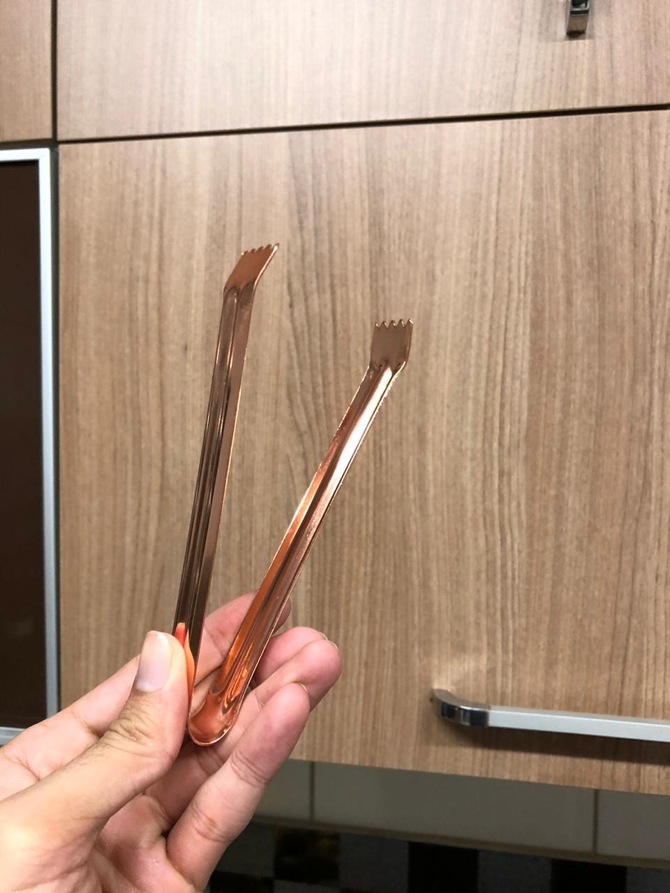 Pegador de gelo salada cozinha pinça culinária aço inox cor cobre 15cm