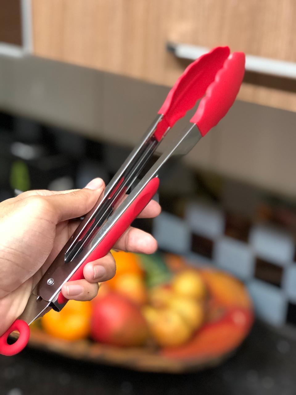 Pegador silicone carne churrasco salada cozinha pinça culinaria 26cm Vermelho livre de bpa