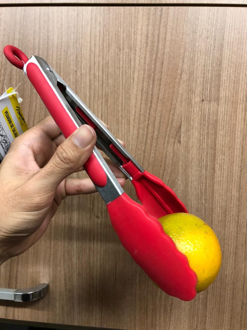 Pegador silicone carne churrasco salada cozinha pinça culinaria 28cm Vermelho livre de bpa mimostyle