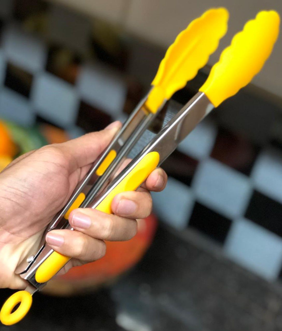 Pegador silicone carne churrasco salada cozinha pinça culinaria 30cm amarelo livre de bpa