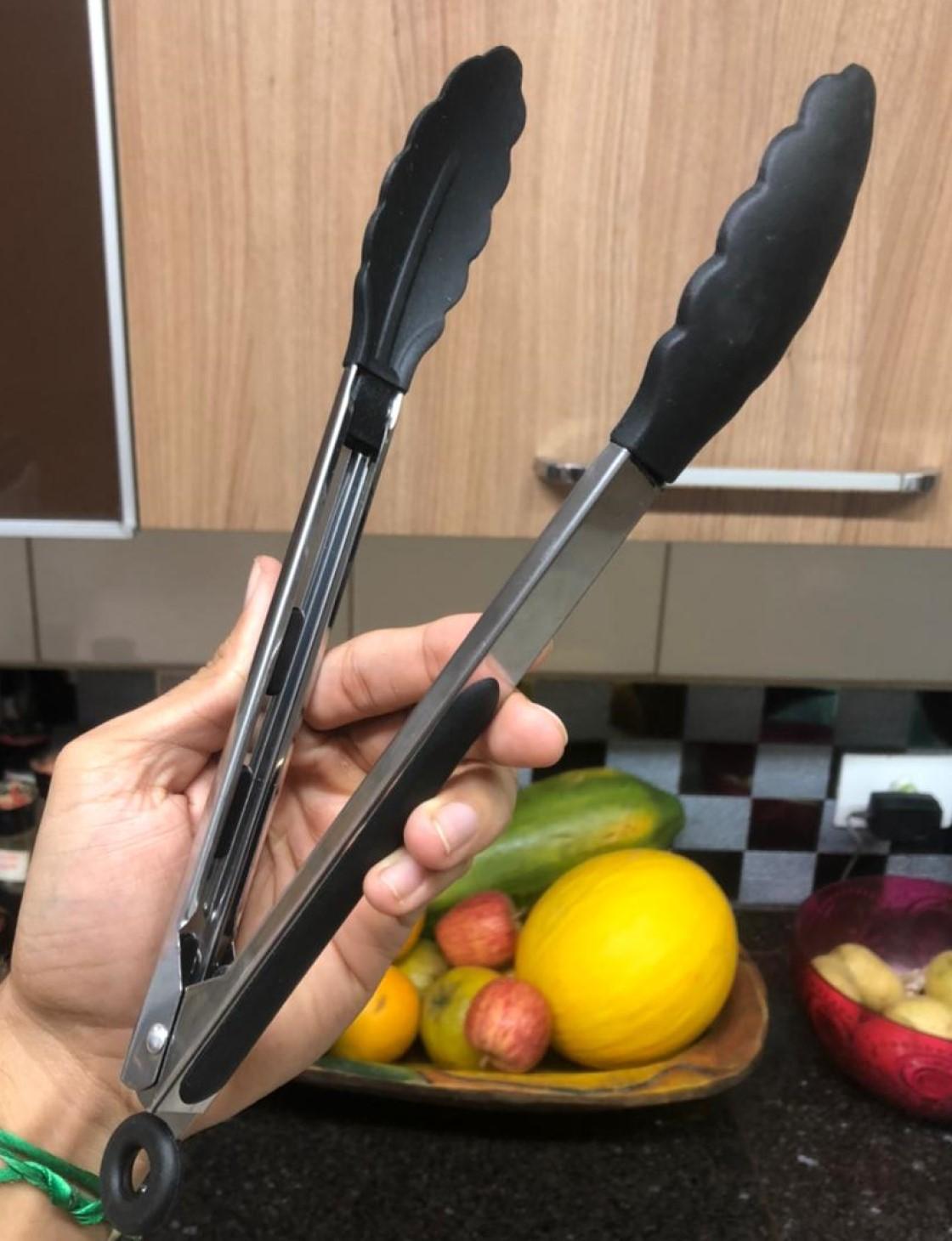Pegador silicone carne churrasco salada cozinha pinça culinaria 30cm preto livre de bpa