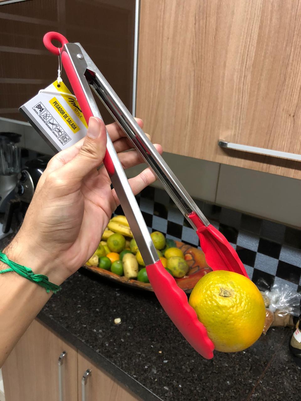Pegador silicone carne churrasco salada cozinha pinça culinária 35cm Vermelho livre de bpa mimostyle