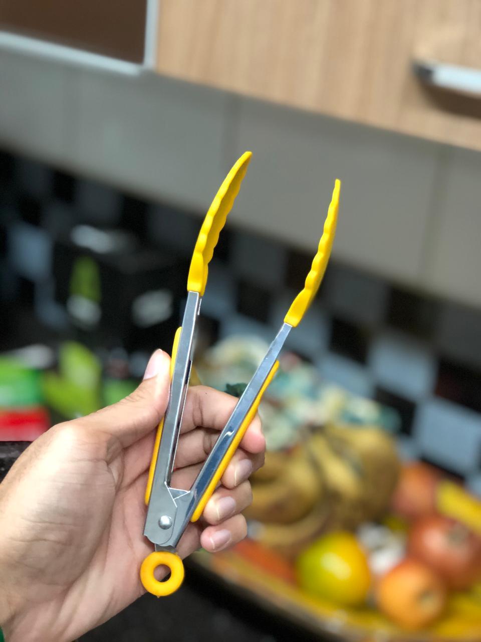 Pegador silicone churrasco pinça fritura salada inox 22cm