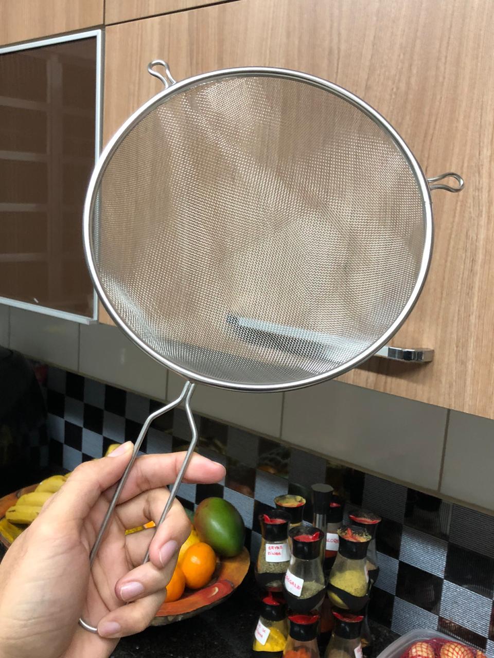 Peneira inox de cozinha 21cm MimoStyle escorrer macarrão