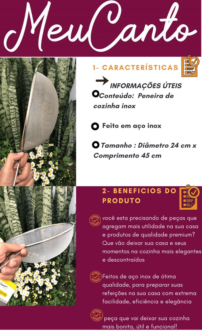 Peneira inox de cozinha 24cm MimoStyle escorrer macarrão