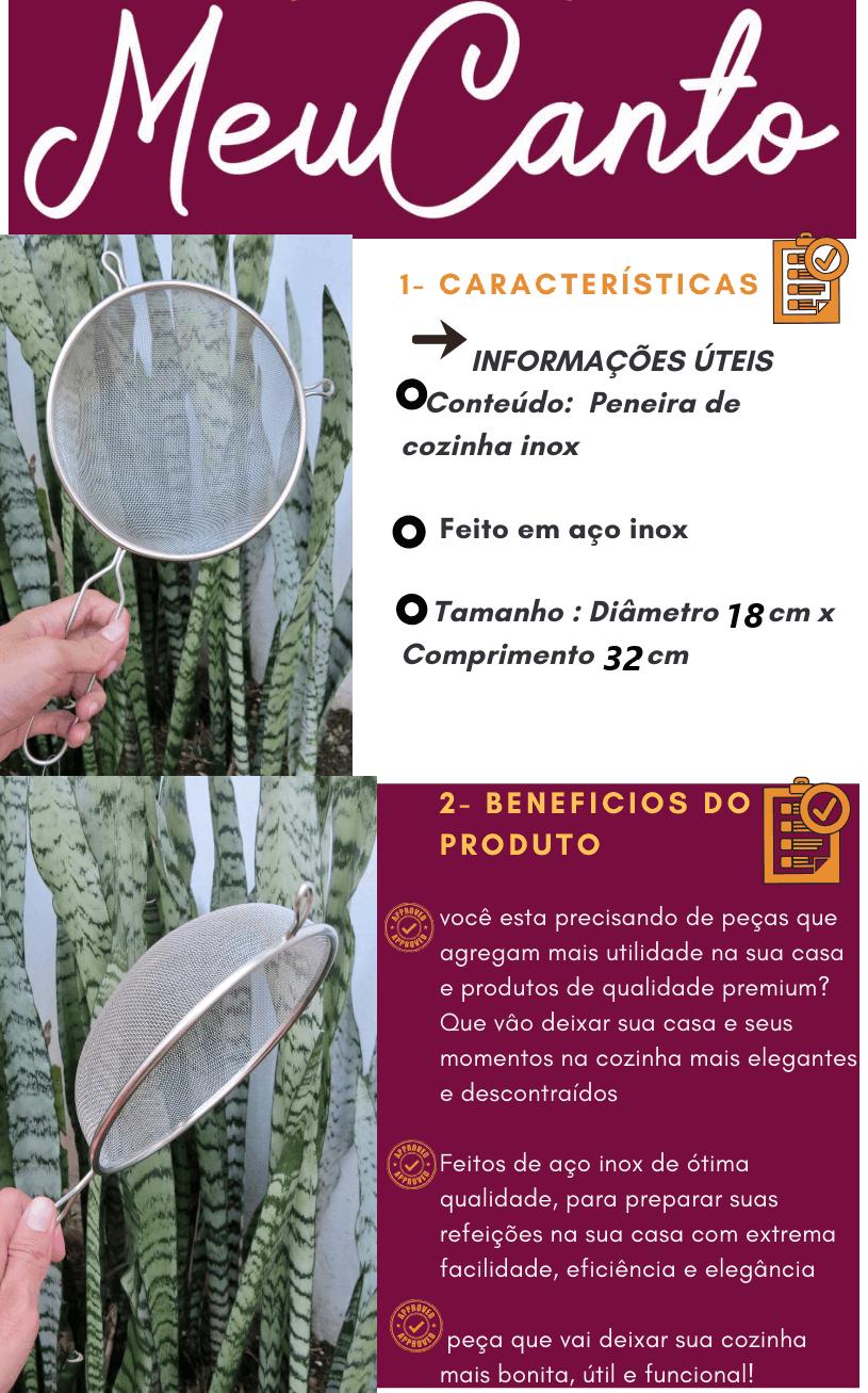 Peneira inox de cozinha coar 18cm MimoStyle escorrer macarrão