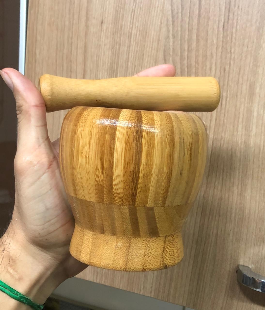 pilão de madeira bambu macerador socador de caipirinha para drinks e cozinha pilão inox