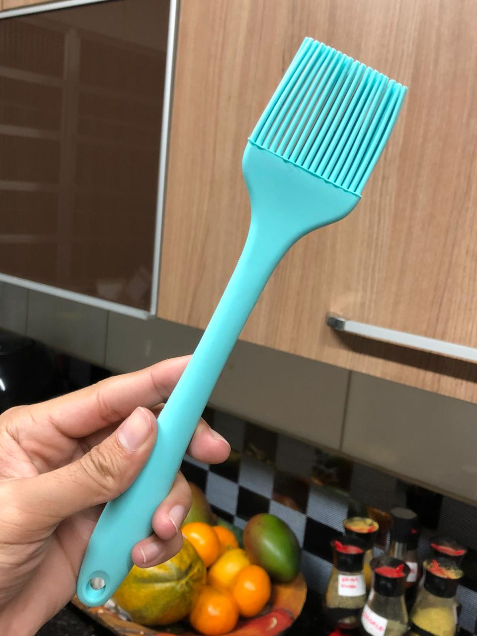 Pincel culinário de silicone cozinha azul 21cm pincelar caldas e gemas