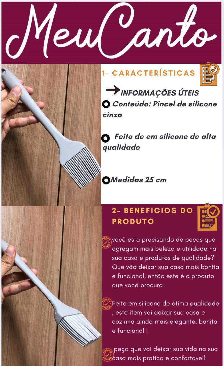 Pincel culinário de silicone cozinha cinza  21cm pincelar caldas e gemas