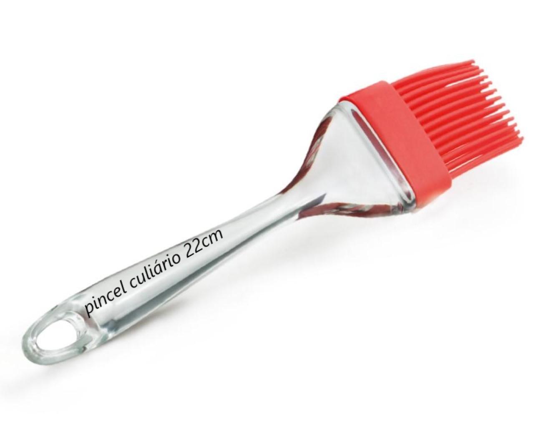 Pincel culinário de silicone cozinha untar confeitar vermelho 22cm mimostyle