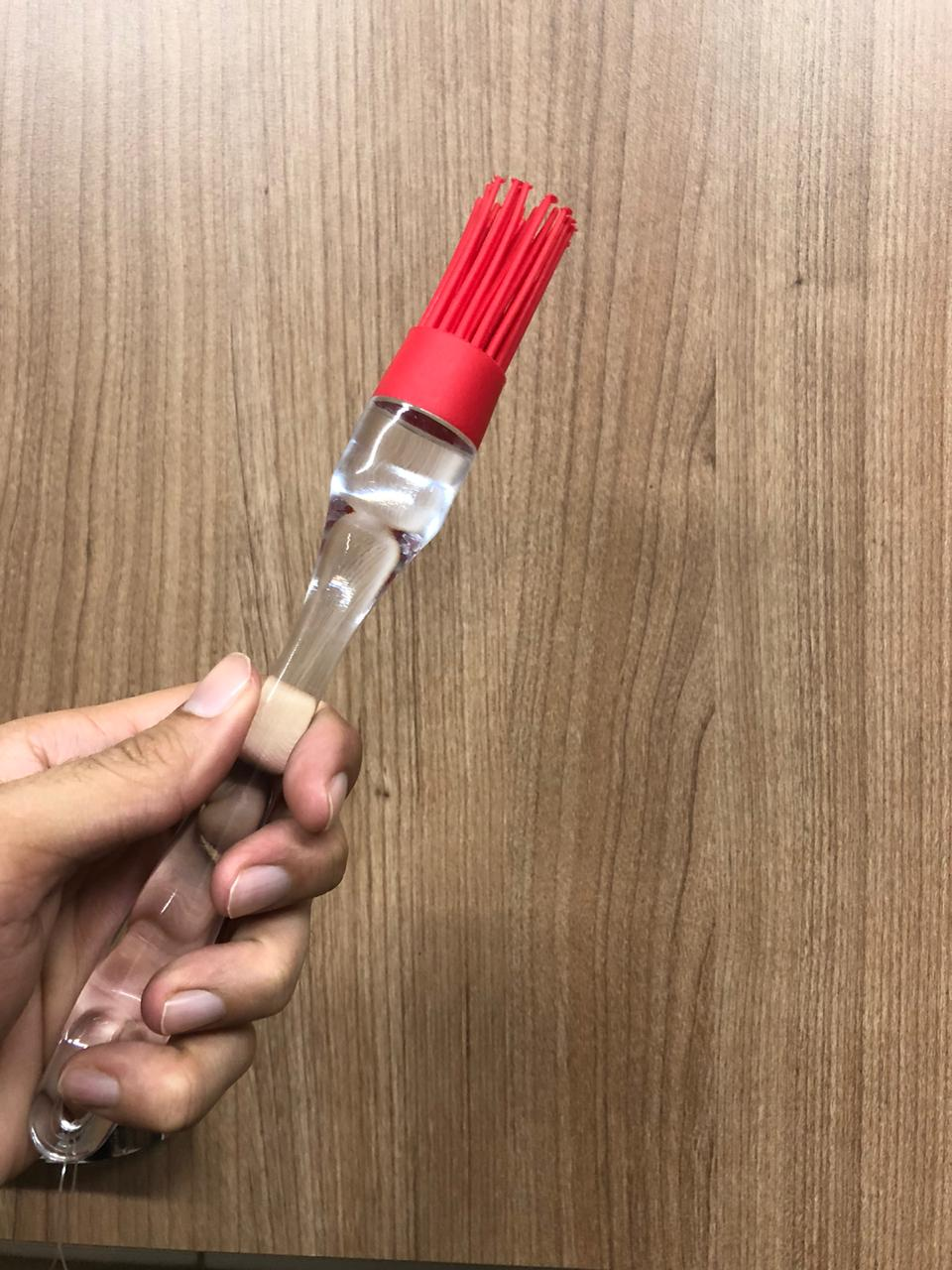 Pincel culinário de silicone cozinha untar confeitar vermelho 22cm