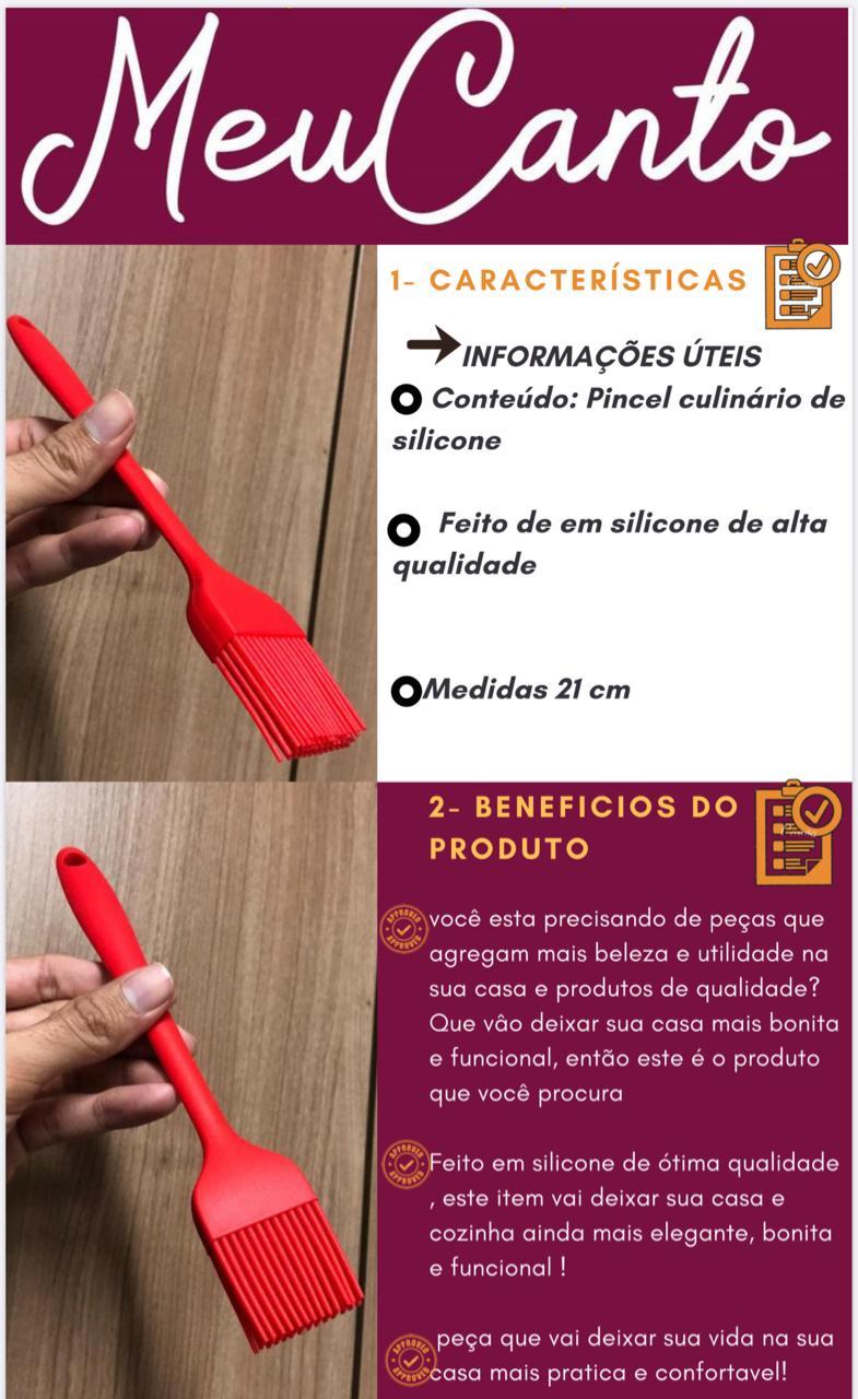 Pincel culinario de silicone cozinha vermelho 21cm pincelar caldas e gemas